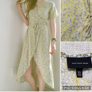 Who What Wear Yellow Floral Wrap Dress